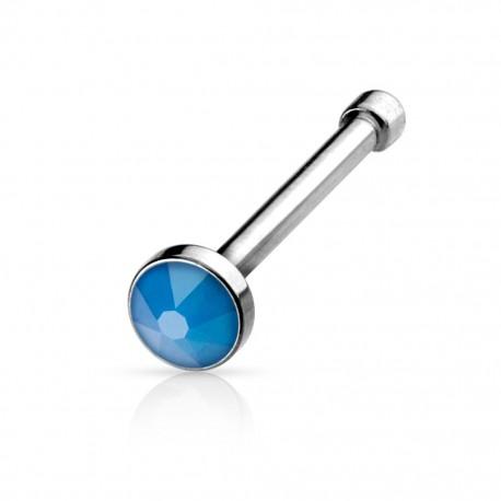 Piercing nez tige droite opale bleue