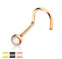 Piercing nez tige courbée opale blanche