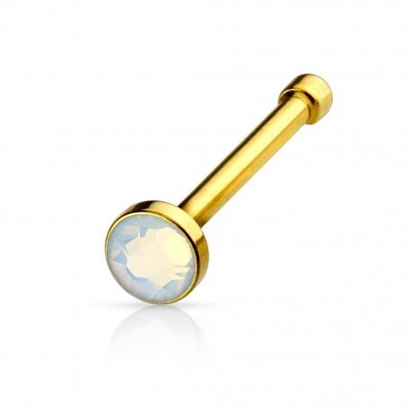 Piercing nez doré opale blanche