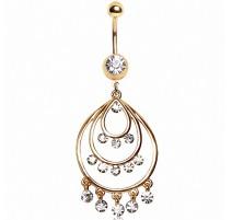 Piercing nombril plaqué or chandelier