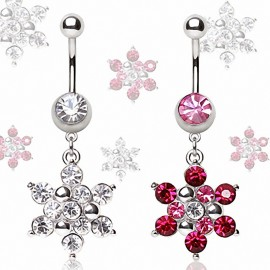 Piercing nombril flocon de neige strass