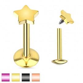 Piercing labret étoile titanium