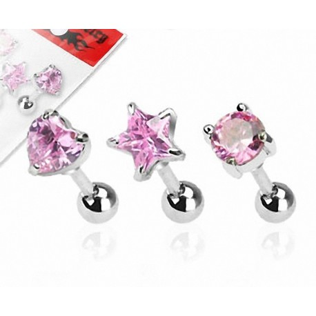 Lot de 3 piercing cartilage pierre rose