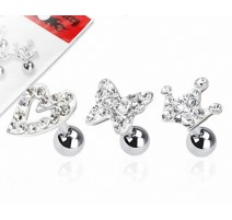 Lot de 3 piercing cartilage fantaisie strass clair