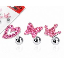 Lot de 3 piercing cartilage fantaisie strass rose