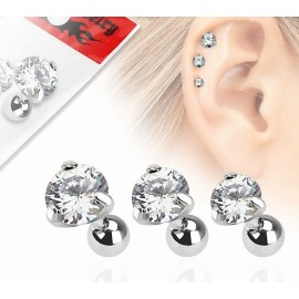 Lot de 3 piercing cartilage gemme rond