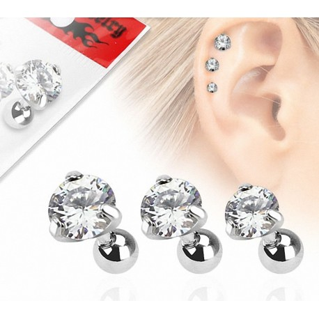 Lot de 3 piercing cartilage gemme rond clairs