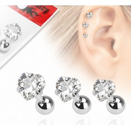 Lot de 3 piercing cartilage gemme coeur
