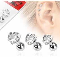 Lot de 3 piercing cartilage gemme coeur clair