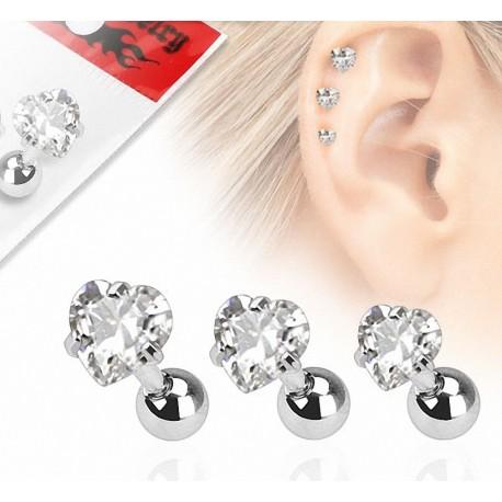 Lot de 3 piercing cartilage gemme coeur clair