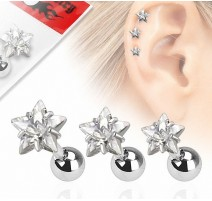 Lot de 3 piercing cartilage gemme étoile clair