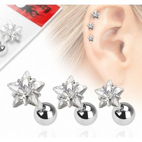 Lot de 3 piercing cartilage gemme étoile clair