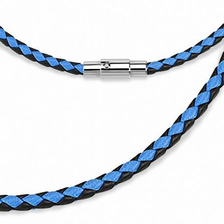 Collier en cuir noir et bleu
