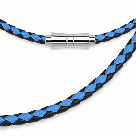Chaine de cou en cuir noir et bleu