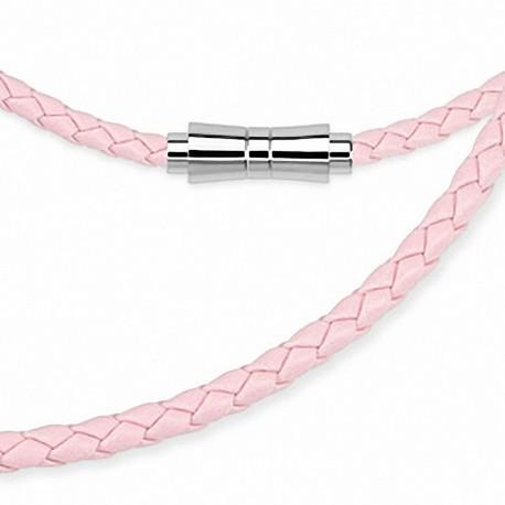 Chaine de cou en cuir rose