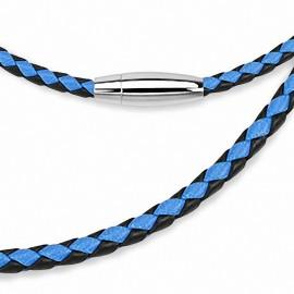 Chaine de cou en cuir noir et bleu fermeture ovale