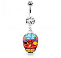 Piercing nombril sugar skull crâne rose