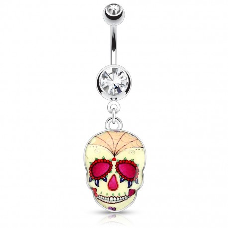 Piercing nombril sugar skull jaune