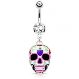 Piercing nombril sugar skull crâne violet