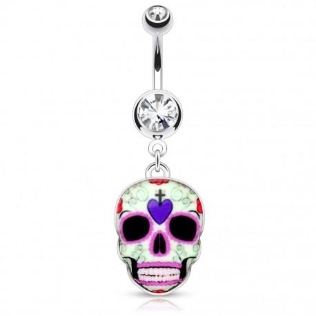 Piercing nombril sugar skull crâne violet