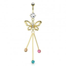 Piercing nombril plaqué or papillon trois gemmes