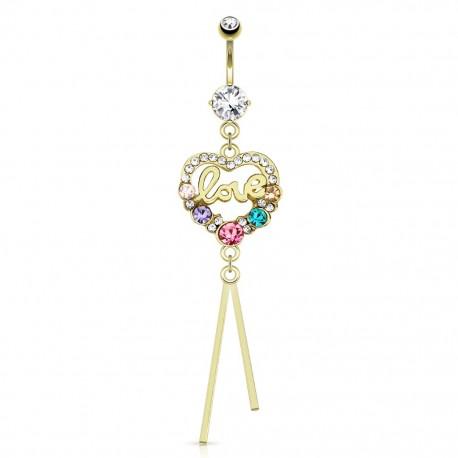Piercing nombril plaqué or love coeur