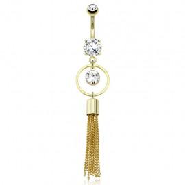 Piercing nombril plaqué or cercle chaines