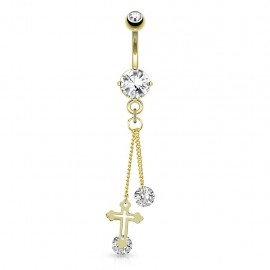 Piercing nombril plaqué or chaines croix