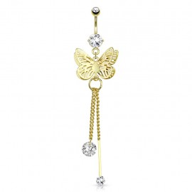 Piercing nombril plaqué or papillon chaines