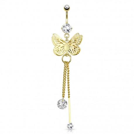 Piercing nombril plaqué or papillon chaines