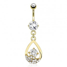 Piercing nombril plaqué or larme strass