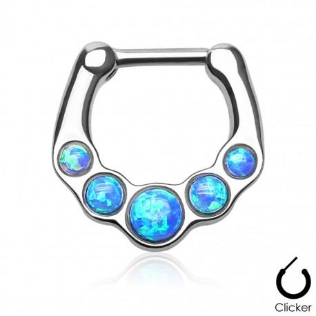 Piercing septum cinq opale bleu