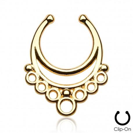 Faux piercing septum aztèque doré