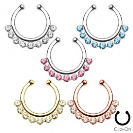 Faux piercing septum 9 strass