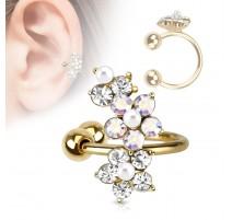 Faux piercing oreille doré fleur