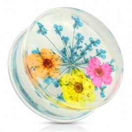 Piercing plug acrylique fleurs