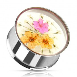 Piercing plug acier fleurs