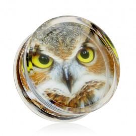 Piercing plug acrylique hibou