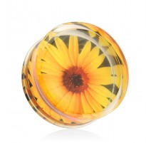 Piercing plug acrylique tournesol