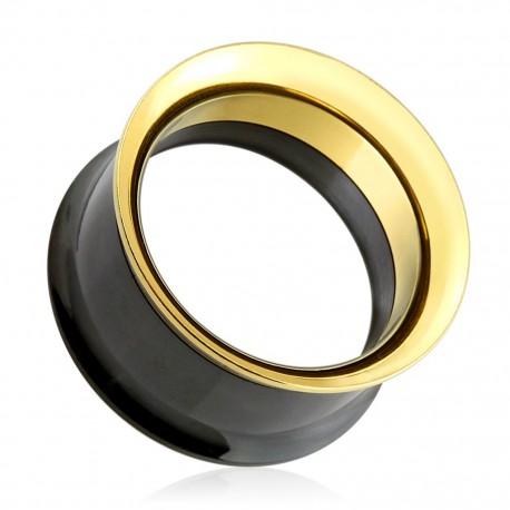 Piercing tunnel noir et doré