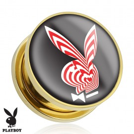 Piercing plug Playboy plaqué or rayures