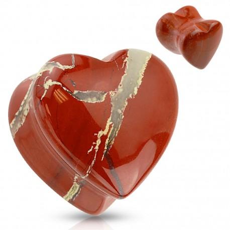 Piercing plug pierre jaspe rouge coeur