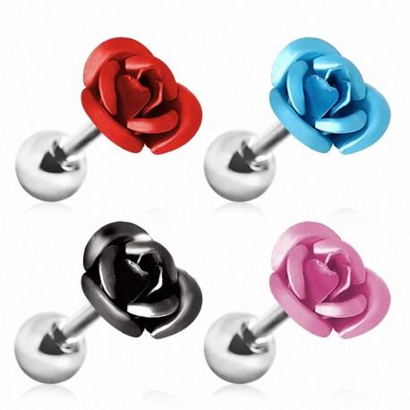 Piercing cartilage rose métallisée