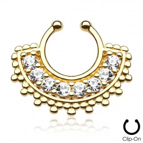 Faux piercing septum large éventail doré