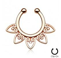 Faux piercing septum éventail tribal rosé gemmes