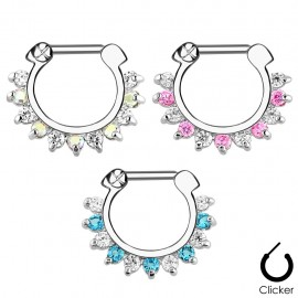 Piercing septum pierres zircon bicolores