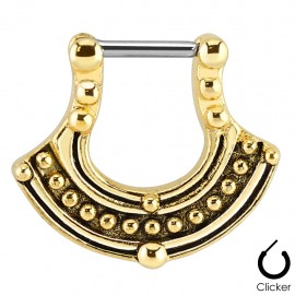 Piercing septum doré motif tribal
