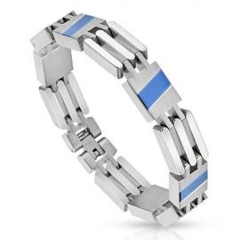 Bracelet homme acier bande bleu