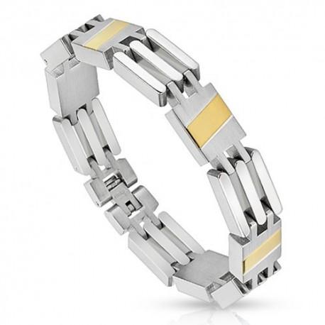 Bracelet homme acier bande doré