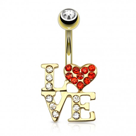 Piercing nombril plaqué or LOVE